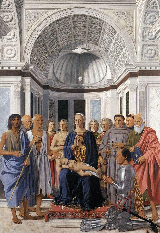 Пьеро делла Франческа - Мадонна с младенцем и святыми (Алтарь Монтефельтро) - WGA17615.jpg