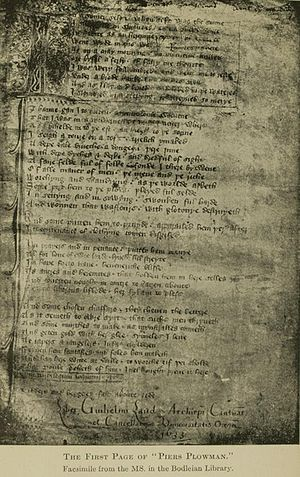 Long and short scales - Piers Plowman, a 17th-century copy of the original 14th-century allegorical narrative poem by William Langland