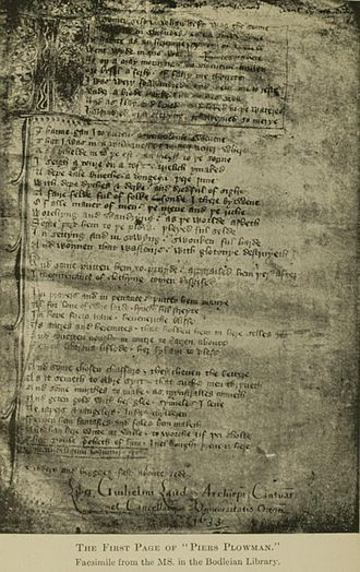 Piers Plowman - Image of the opening of Piers Plowman from manuscript Laud misc. 581 in the Bodleian Library