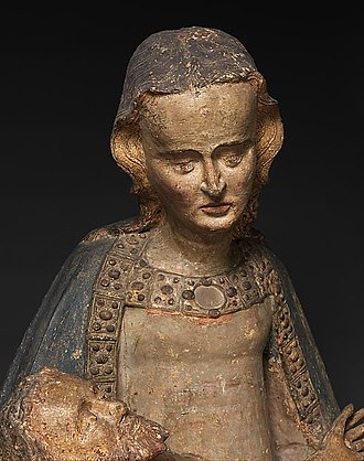 Pietà (Southern German, Cloisters) - Detail showing the bust of the Virgin
