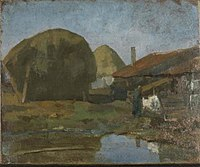 Piet Mondriaan - Haystacks, farm building and farm woman with the wash - 0334259 - Kunstmuseum Den Haag.jpg