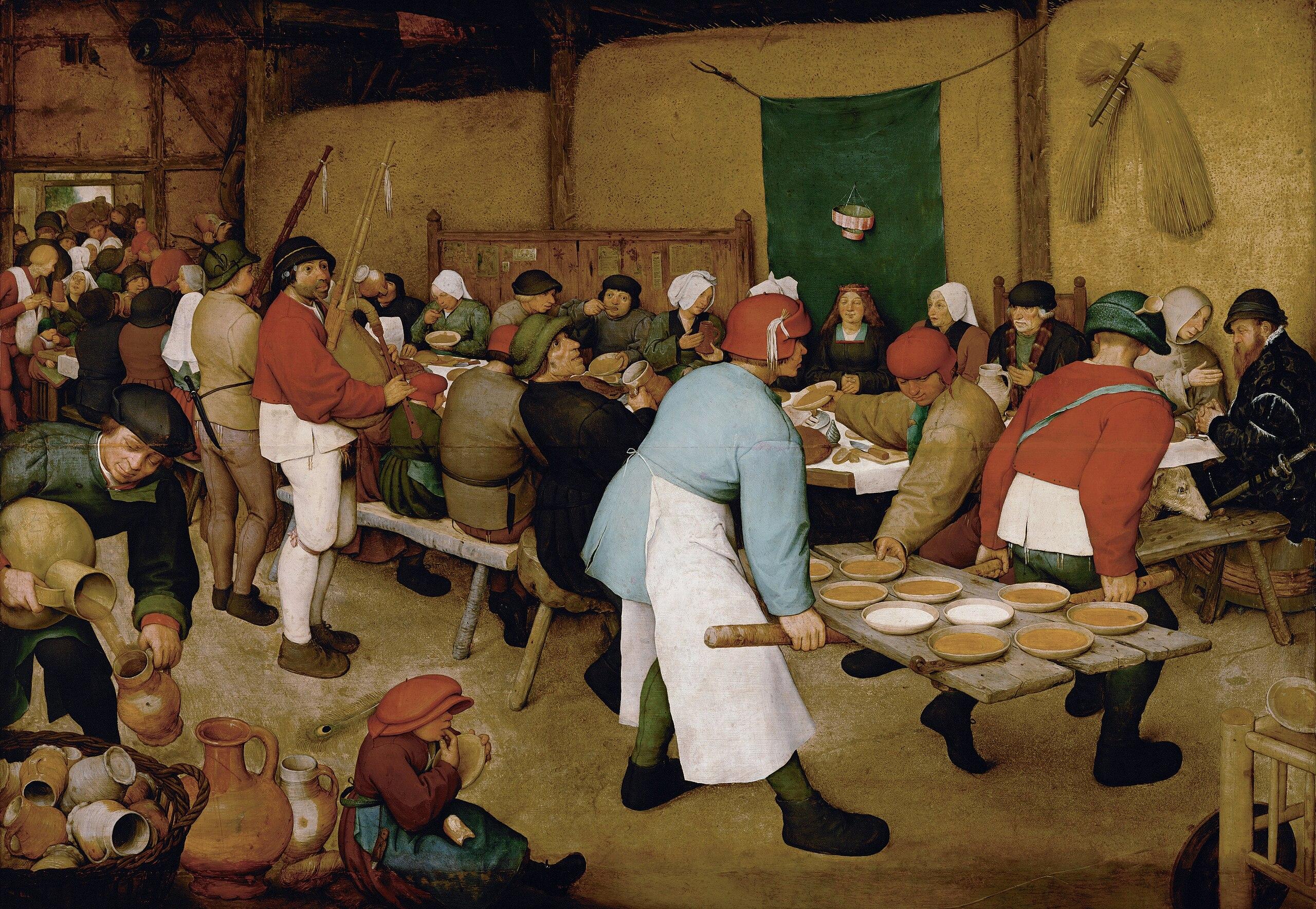 wedding in art: Pieter Bruegel the Elder, Peasant Wedding, ca. 1566 to 1569, Kunsthistorisches Museum, Vienna, Austria.