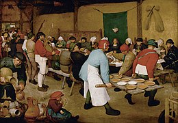 A painted scene with several tens of people sitting around a long table, with a woman at a central place before a cloth hanging on the wall. Other people around distribute plates with soup, serve beverages, play bagpipes.