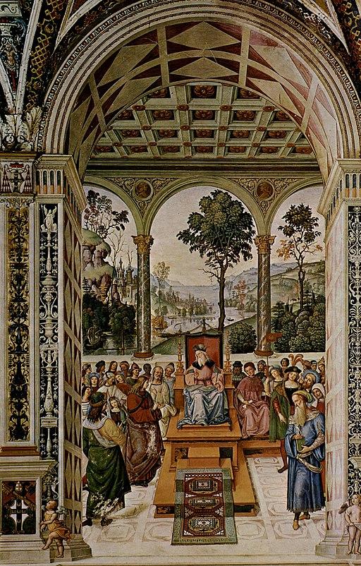 Pinturicchio, Libreria Piccolomini, Enea Silvio ambasciatore alla corte di Scozia
