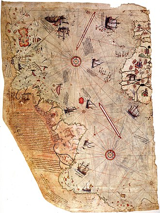 Science in the medieval Islamic world - Surviving fragment of the first World Map of Piri Reis (1513)