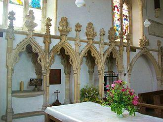 Lewknor - 14th-century Decorated Gothic piscina and sedilia in the chancel of St Margaret's parish church