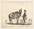 Plate 15- a Polish nobleman, facing away, holding his horse covered in leopard skin, four men and a horse in background, from 'Diversi capricci' MET DP833180.jpg