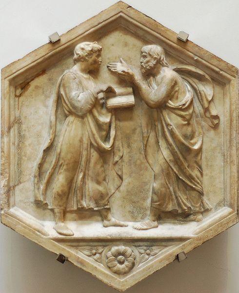 File:Plato Aristotle della Robbia OPA Florence.jpg