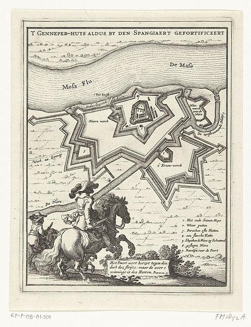 Plattegrond van het Huis te Gennep met de door de Spanjaarden aangelegde fortificaties, 1641 T Genneper-Huys aldus by den Spangiaert gefortificeert (titel op object), RP-P-OB-81.501