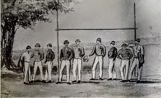 Scoring in association football - Illustration of the goals used at Rugby School (1858)