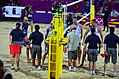 Players shaking hands with officials after a beach volleyball match at the 2012 Summer Olympics.jpg