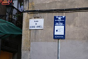 "Big Brother (Nineteen Eighty-Four) - CCTV in ""George Orwell Square"" in Barcelona, Spain"