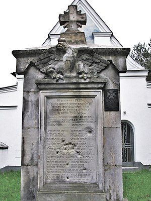 Battle of Ossów - Monument to the fallen soldiers at the local cemetery in Ossów