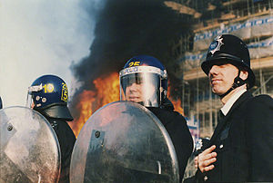 Poll tax riots - Metropolitan Police on the day of the riot