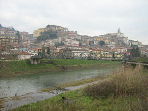 Polla - View of Polla from Tanagro river shore