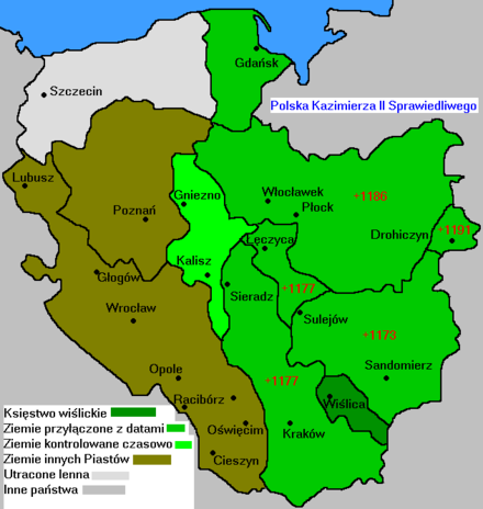 Casimir's acquisitions (in green) Polska 1177-1194.PNG