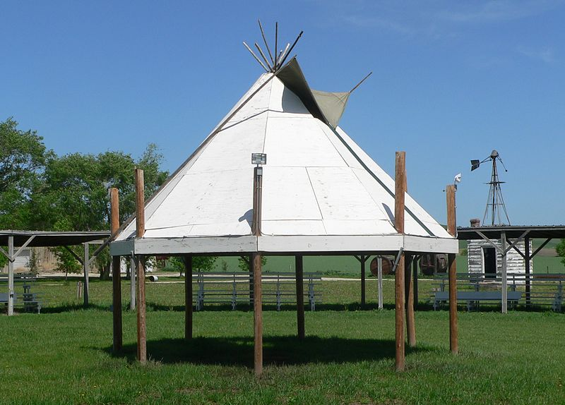 Description Ponca Tribe Community buildings Pow Wow circle 2.JPG