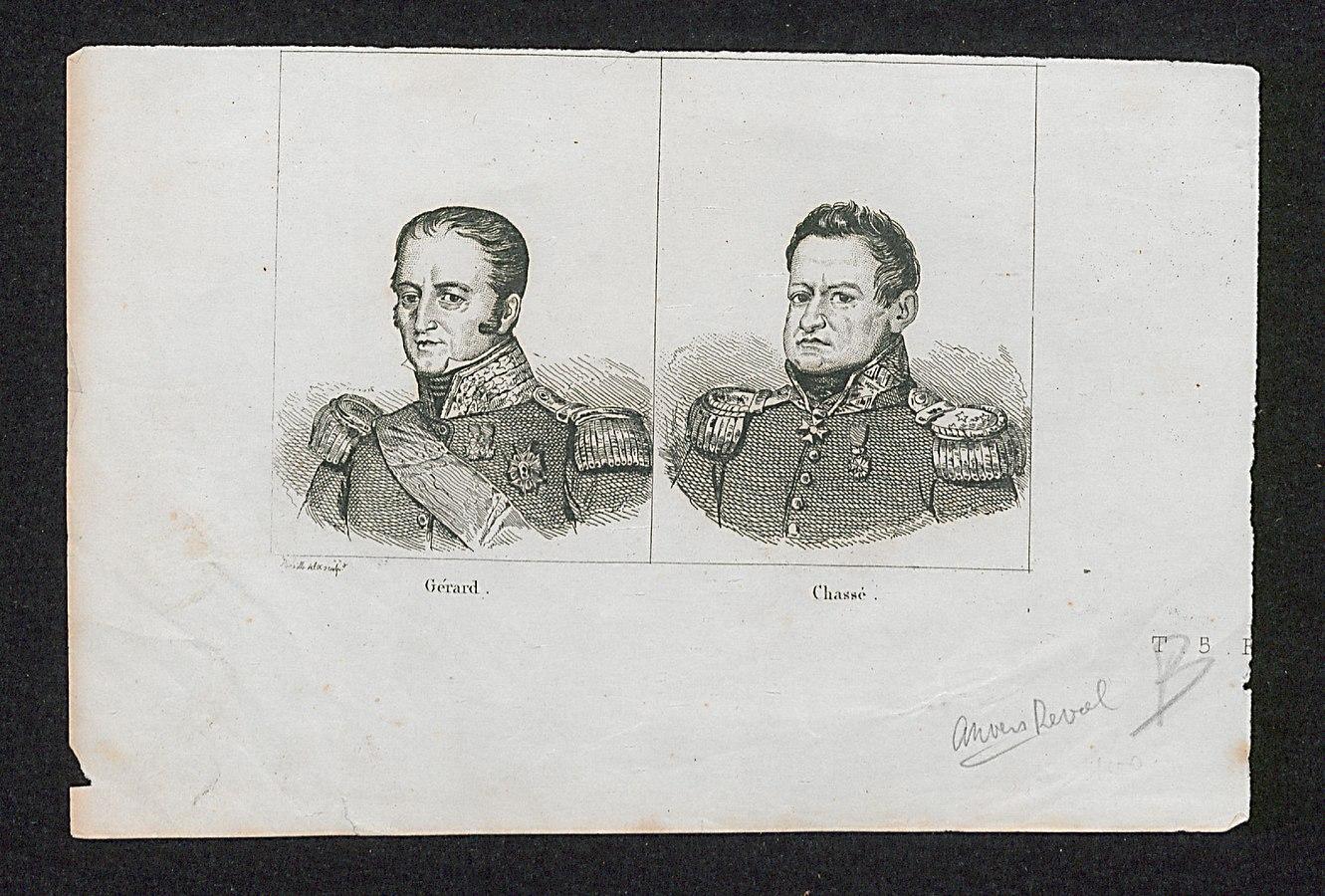 Portretten van de Franse generaal Gérard en de Nederlandse generaal Chassé