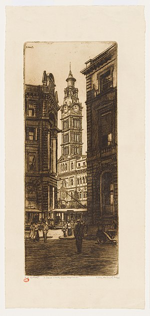 Sydney Ure Smith - Image: Post Office Tower from Wynyard Street, 1916 by Sydney Ure Smith (21253485334)