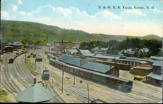 Keene, New Hampshire - Boston and Maine railroad yard in Keene, circa 1916