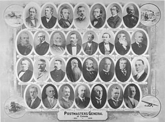 Postmasters General of Canada, 1851-1929 Credit: Agnes Macdonald, Baroness Macdonald of Earnscliffe Collection. / Library and Archives Canada / PA-066694 Postmasters General of Canada 1831 to 1929.jpg