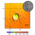 Poynting crater on Mars - topography map.png