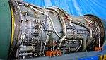 Pratt & Whitney JT8D-9 turbofan engine compressor & combustor, tuebine section left front view at JASDF Iruma Air Base November 3, 2014.jpg
