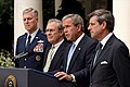 President George W. Bush holds a press conference in the Rose Garden.jpg