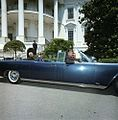 President John F. Kennedy and President Dr. Sarvepalli Radhakrishnan of India in Car Before Motorcade (1).jpg