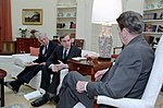 President Ronald Reagan Meeting with Elliott Abrams About Trip to Central America with John Whitehead.jpg