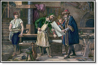 Early modern period - Gutenberg reviewing a press proof (a colored engraving created probably in the 19th century)