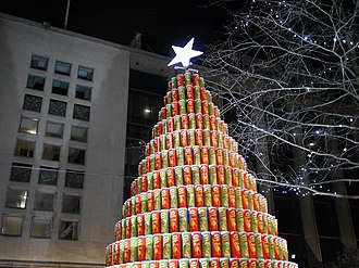 Pringles - Pringles Christmas tree in Spinningfields, Manchester, England in 2014