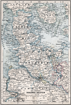 Province of Schleswig-Holstein - Map of the Province of Schleswig-Holstein as of 1905.