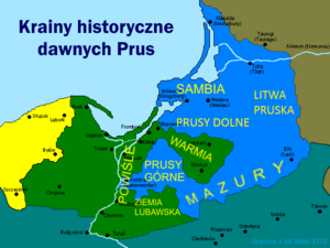 Warmia - Map of historical lands and regions in Prussia