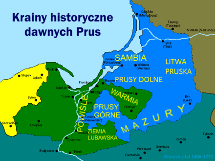 Map of historical lands and regions in Prussia Prusy historyczne.png