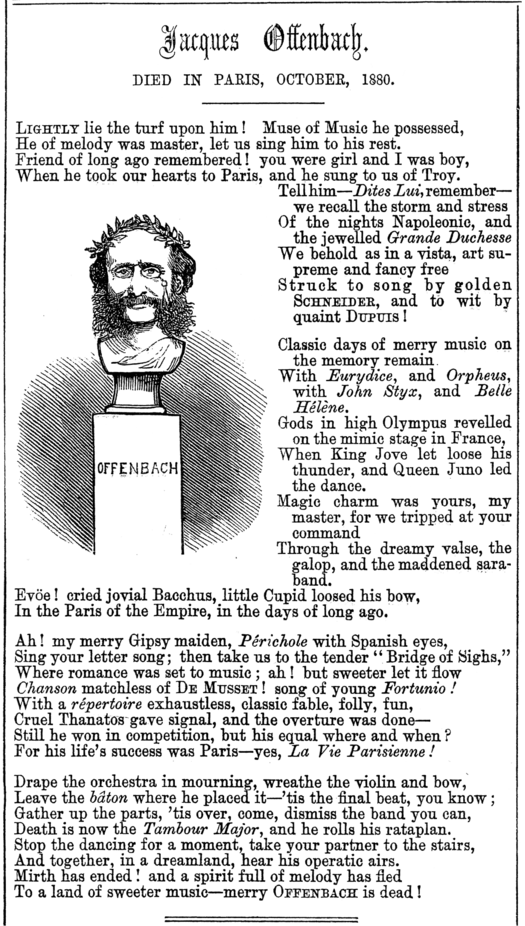 Elegy to Offenbach by Clement Scott in the magazine Punch Punch - Offenbach elegy.png