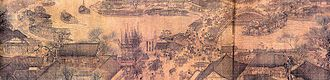 Economy of the Song dynasty - A small section of the Qingming Shang He Tu (Along the River During Qingming Festival), a large horizontal scroll painting by Zhang Zeduan, early 12th century.