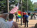 Rainbow Flag raised at Bellingham City Hall July 11 2013 (9331439131).jpg