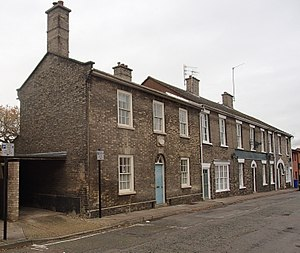 Henry Cockton - Range of buildings in Long Brackland, Bury St. Edmunds, including his mother in law's house, where he spent the final years of his life (foreground) and the former Seven Stars Inn which he ran between 1846 and 1849.