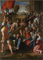 work of visual art: Raphael painting of Christ Falling on the Way to Calvary from 1514-1516