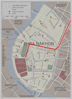 Ratchadamnoen Avenue - Ratchadamnoen Nai is the first segment on the left, along Sanam Luang, Ratchadamnoen Klang is the second segment (from west to east), and Ratchadamnoen Nok is the last on the right, to Dusit Palace