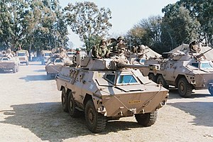 Regiment de la Rey - Ratel 90 with Ratel 20 on the right, busy with an exercise in Lohatla in 2003
