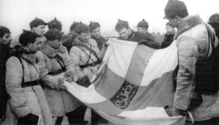 Red Army soldiers display a captured Finnish banner, March 1940 Red Army Finnish flag Winter War.png