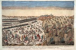 Reddition armee anglaise a Yorktown 1781 avec blocus naval