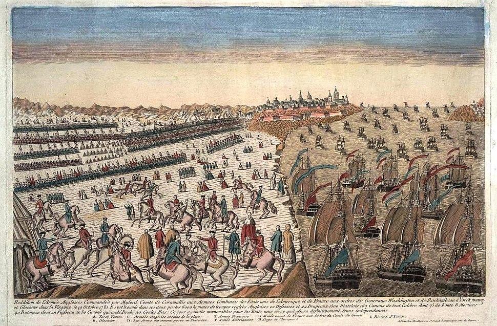 Reddition armee anglaise a Yorktown 1781 avec blocus naval