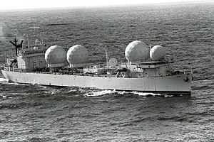 USNS Mission De Pala (T-AO-114) - USNS Redstone (T-AGM-20) underway, date and place unknown.