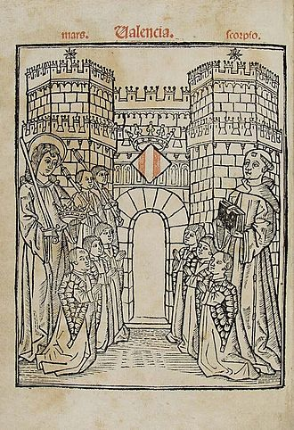Francesc Eiximenis - Title page of the incunable edition of the Regiment de la Cosa Pública (Valencia, Cristòfor Cofman, 1499). Francesc Eiximenis is on the right. He offers his book to the jurats of Valencia. On the left is the guardian angel of the city and kingdom of Valencia. The six Jurats de Valencia are kneeling in front of the Serrans gothic gate of the ancient wall of Valencia.