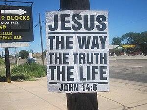 Wheeler County, Texas - John 14:6 sign along U.S. Route 66 in Wheeler County