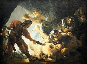 """Das querformatige Ölgemälde aus dem Jahre 1636 trägt den Titel """"Die Blendung Simsons"""". Das Bild zeigt eine Szene von erschreckender Grausamkeit, die sich im Halbdunkel eines niedrigen, höhlenartigen Raumes, womöglich eines Zeltes, abspielt. Eine etwa mannshohe, dreieckige Öffnung in der linken Bildhälfte lässt Licht in den ansonsten völlig dunklen Raum einfallen. Dadurch werden die am Geschehen Beteiligten (Simson, Delila und fünf Soldaten) in ein unheimliches Streiflicht getaucht. Simson, etwa 70-jährig, mit kräftigem, rötlichem Bart wurde von den Soldaten niedergeworfen und wälzt sich nun in der unteren Bildmitte am Boden. Er ist bekleidet mit einem einfachen, blassgelben Gewand, das sich in dem Gerangel mit den Soldaten am Oberkörper geöffnet hat und so Brust und Bauch entblößt. Simson liegt vor uns auf dem Rücken, Rumpf und Beine schräg nach links hinten, den Kopf nach vorn rechts gerichtet. Er hat das linke Bein angewinkelt auf den Boden gestemmt und das rechte mit verkrampften Zehen emporgehoben. Allein – seine Gegenwehr ist vergeblich. Links von ihm steht breitbeinig ein Soldat, der sich zu ihm hinunterbeugt und ihn mit einer Hellebarde bedroht. Der Mann trägt rostrote Kleidung und eine Art Turban; er ist vor der dreieckigen, hellen Öffnung der Höhle als dunkle Silhouette zu sehen. Unter Simson liegt ein Soldat am Boden, der dessen Oberkörper mit beiden Armen umklammert hat und nach unten zieht. Hinter Simson tauchen zwei Soldaten mit schwarz glänzenden Rüstungen aus dem Dunkel auf. Der hintere hat eine Eisenkette um Simsons erhobenen rechten Arm geschlungen und festgezurrt. Der vordere hat sich über den Gepeinigten gebeugt und sticht ihm mit einem Dolch, den er mit seinem gepanzerten Handschuh führt, das rechte Auge aus. Blut spritzt. Am rechten Bildrand erkennt man im Halbdunkel das entsetzte Gesicht eines weiteren Soldaten; im Hintergrund links sieht man, wie Delila, eine junge Frau in weißem Gewand, der Szene in Richtung des Lichtes entflieht – in der Rec"""