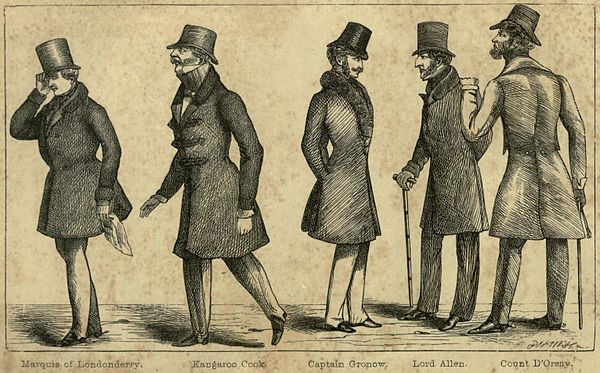 Marquis of Londonderry, Kangaroo Cook, Captain Gronow, Lord Allen, and Count D'Orsay.